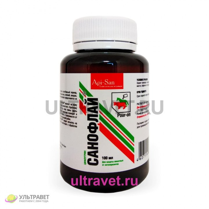 Санофлай (цифлутрин) - для защиты животных от эктопаразитов, 100 мл