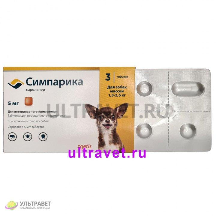 Симпарика таблетки для собак от блох и клещей (5 мг, 10 мг, 20 мг, 40 мг, 80 мг, 120 мг)