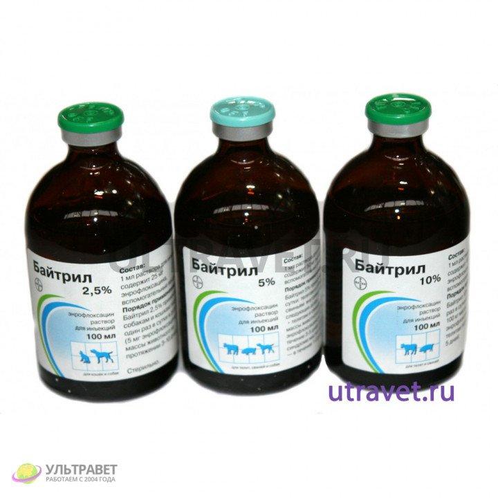 Байтрил раствор для инъекций (2,5%, 5%, 10%), 100 мл