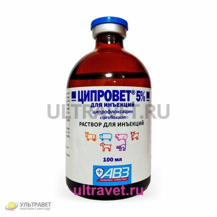 Ципровет 5% (ципрофлоксацин) для инъекций, 100 мл