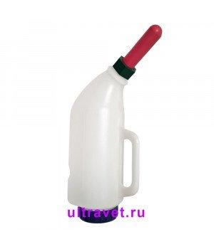 Молокопоилка пластиковая изогнутая с ручкой для телят, 3 л