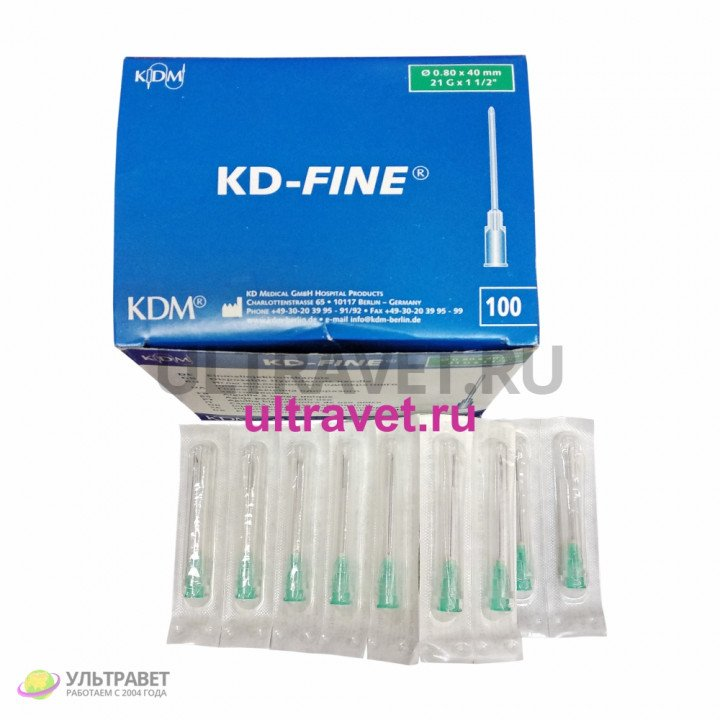 "Игла KD-Fine 0,8х40 мм, 21Gх1 1/2"""