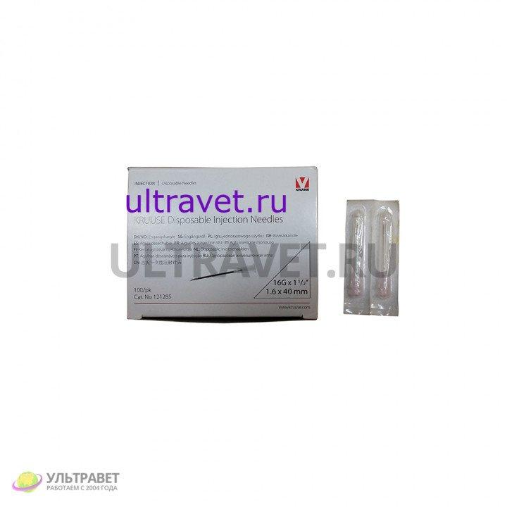 Одноразовая инъекционная игла 16Gх1 (1,6х40 мм), Kruuse