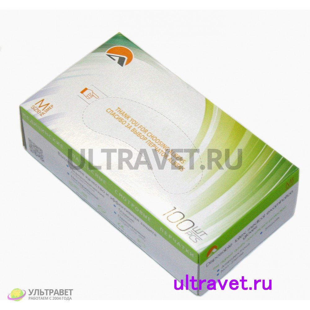 Перчатки латексные смотровые гладкие, ALBENS (100 шт.)