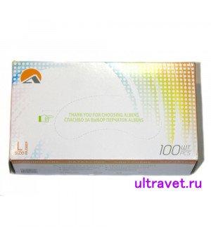 Перчатки латексные смотровые текстурированные, ALBENS (100 шт.)