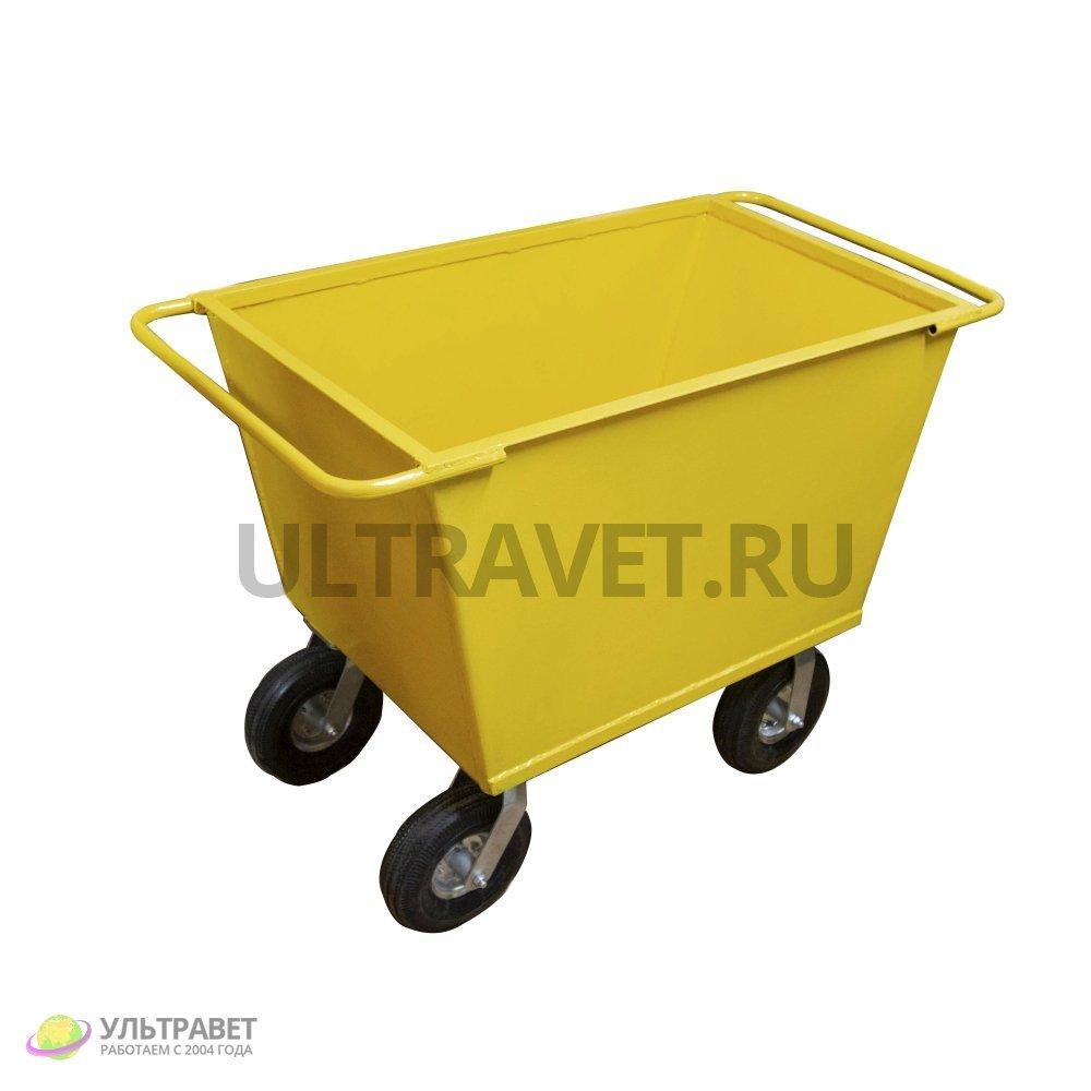 Тележка кормовая с металлическим кузовом (большегрузные колеса 4 шт.)
