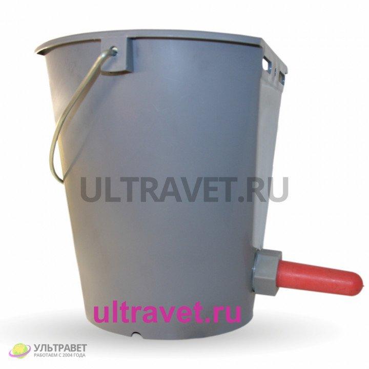 Ведро для поения телят с соской и клапаном, 8 л