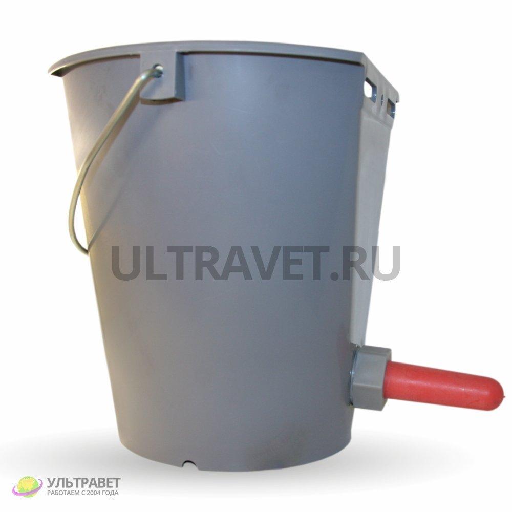 Ведро для поения телят серое с соской и клапаном, 8 л
