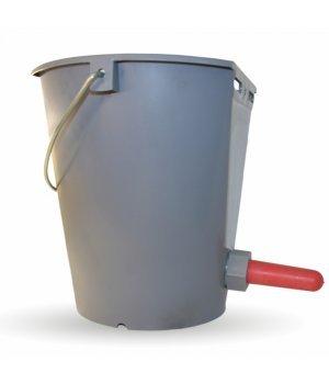 Ведро для поения телят с соской и клапаном серое, 8 л