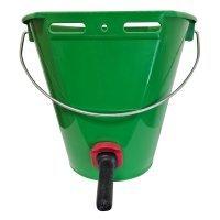 Ведро для поения телят с соской и клапаном зеленое, 8 л