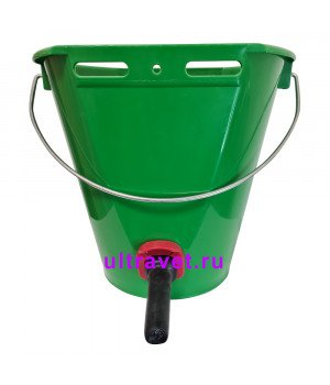 Ведро для поения телят зеленое с соской и клапаном, 8 л