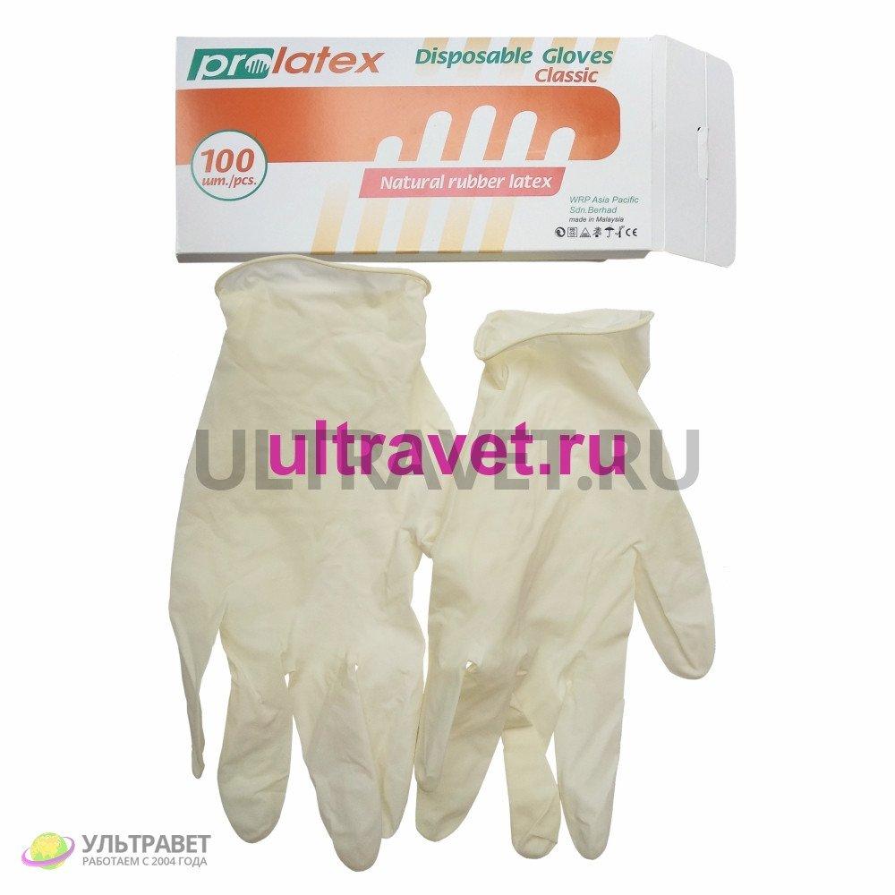 Перчатки латексные одноразовые PROLATEX (100 шт.)
