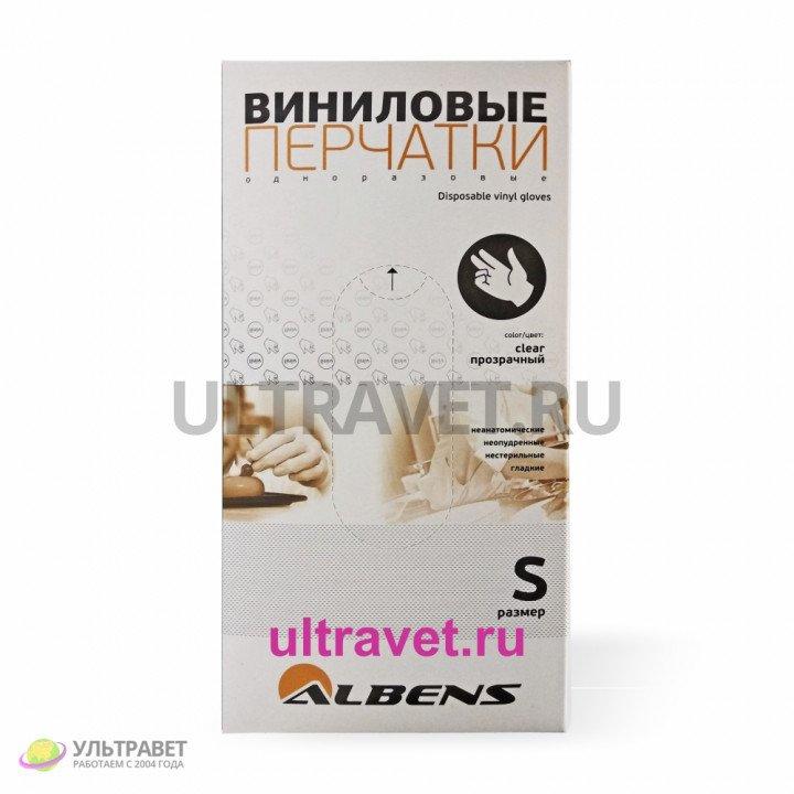 Перчатки виниловые одноразовые, ALBENS (100 шт.)