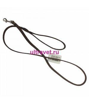 Поводок кожаный 10 мм одинарный с карабином №1, 120 см