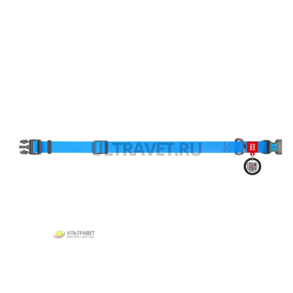 Ошейник WAUDOG Waterproof водостойкий голубой, светящийся, пластиковая пряжка (ширина 20 мм, 25 мм)