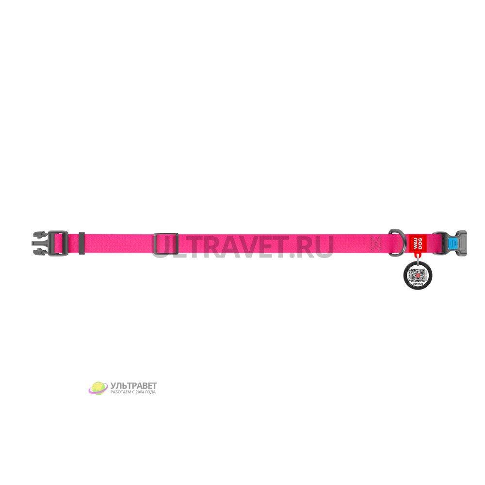 Ошейник WAUDOG Waterproof водостойкий розовый, светящийся, пластиковая пряжка (ширина 20 мм, 25 мм)