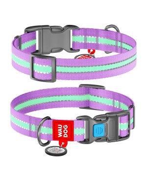 Ошейник WAUDOG Nylon светонакопительный, фиолетовый (ширина 15 мм, 25 мм)