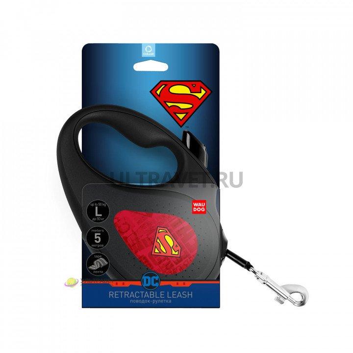 """Поводок-рулетка WAUDOG с рисунком """"Супермен Лого Красный"""", размер L, до 50 кг, 5 м, черный"""