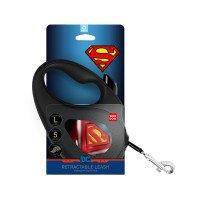 """Поводок-рулетка WAUDOG с рисунком """"Супермен Лого"""", размер L, до 50 кг, 5 м, черный"""