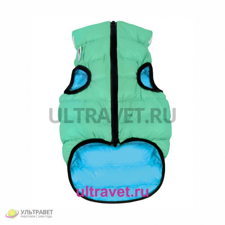 Курточка двухсторонняя светящаяся AiryVest Lumi для собак, салатово-голубая (XS 30, S 40)