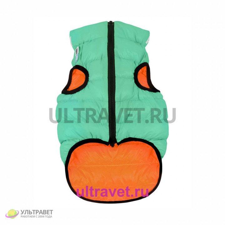 Курточка двухсторонняя светящаяся AiryVest Lumi для собак, салатово-оранжевая (XS 25, S 35)