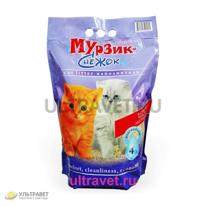 """Наполнитель комкующийся Мурзик-Снежок """"Универсал"""" для кошачьего туалета, 4 л"""