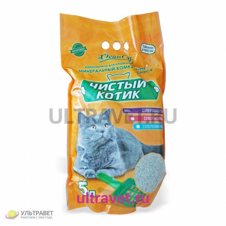 Наполнитель минеральный комкующийся Чистый котик для кошачьего туалета