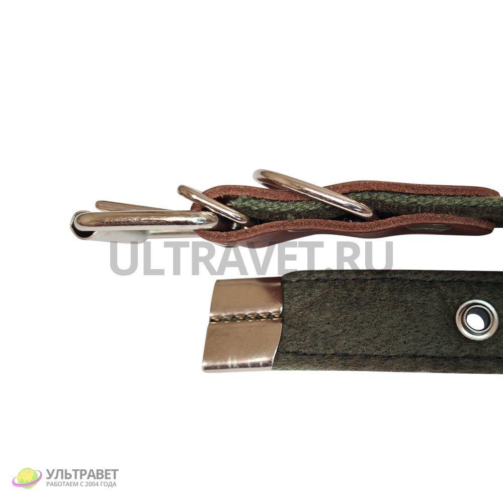 Ошейник Ультра (20 мм, 25 мм) брезентовый на синтепоне, пряжка ременная (1 кольцо), 55 см. Качество Германия